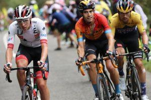 Pogacar, Landa y Roglic, durante el Tour de 2020. Afp